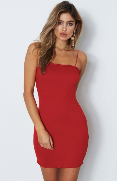 spaghetti strap mini bodycon dress with heels with open toe