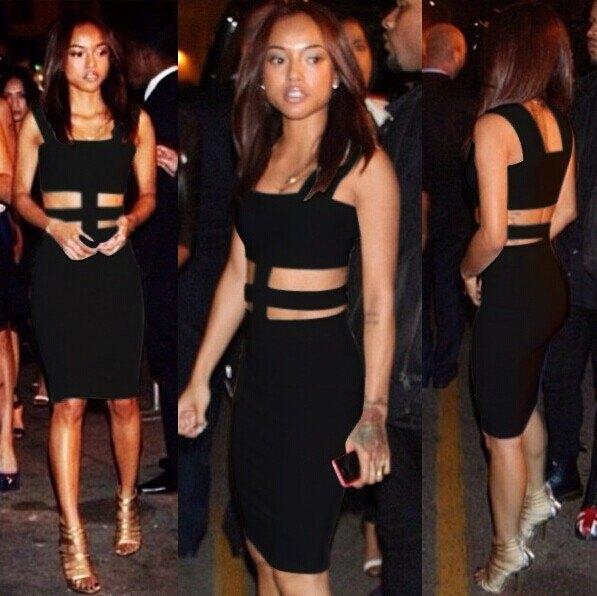 black cutout mid-knee length bandage dress