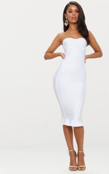 white midi ruffled midi bodycon dress