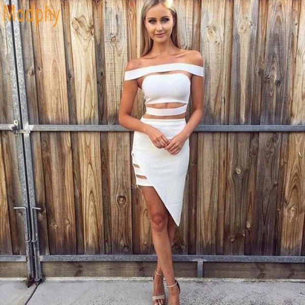 white from the shaft cut asymmetrical bandage midi dress