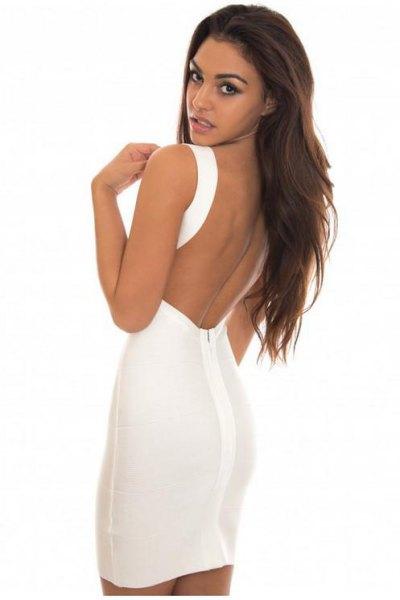 white backless mini bodycon dress