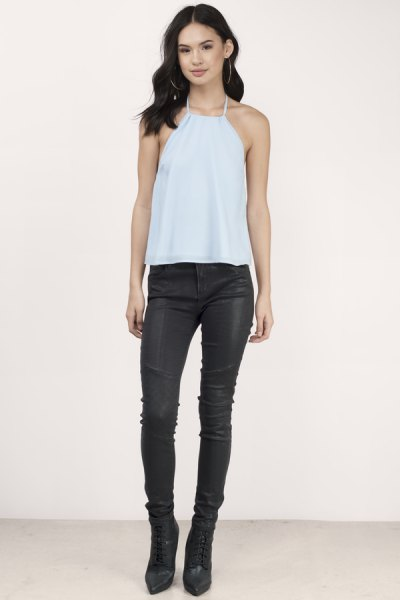 sky blue halter top with black leather pants