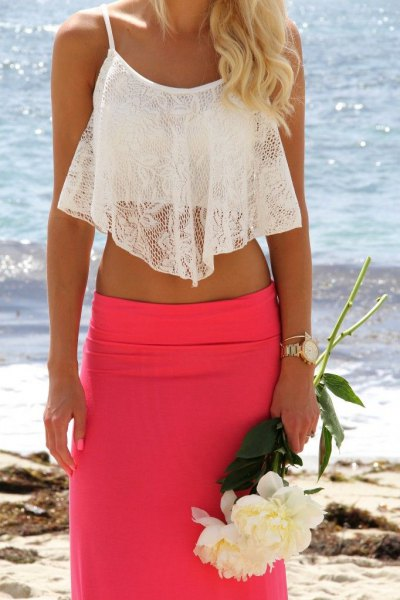 white lace cropped tank top with blush pink midi bodycon skirt