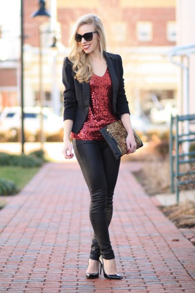 bronze sequin case with black blazer and leather leggings