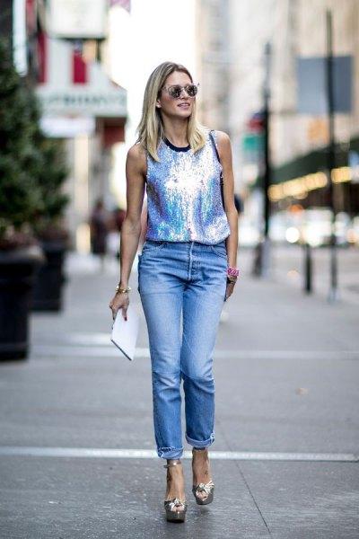 silver case with cuffed boyfriend jeans