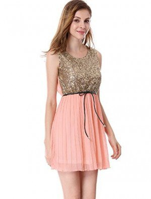 gold sequin with top blue pink mini chiffon pleated skirt
