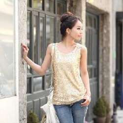 gold sequin with white leather sequin