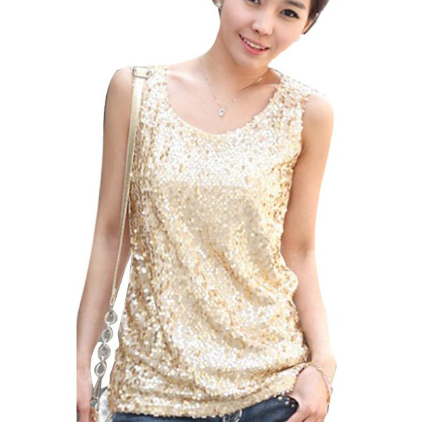 light gold sequin with top blue jeans