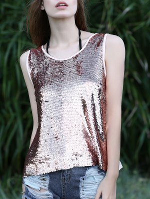 silver scoop neck sequin with heavily ripped jeans