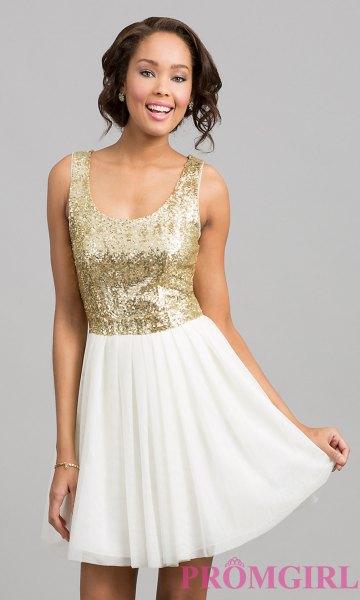 gold-scoop-neck sequin with white mini skater skirt