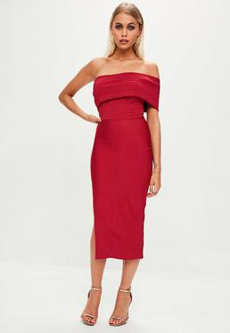 red of midi dress with shoulder