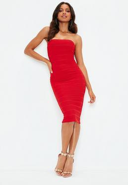bright red bandage midi dress with white heels