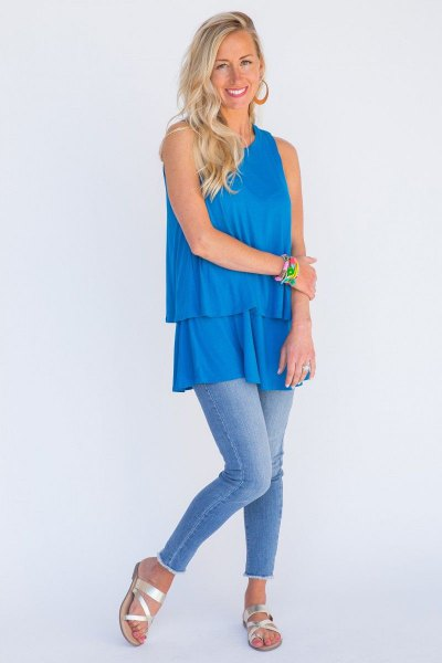 sky blue frayed tunic with top in soft jeans