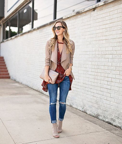 pink pink jacket over burgundy tunic