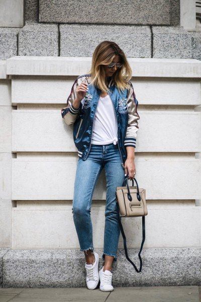 light pink and blue satin jacket with cropped slim jeans