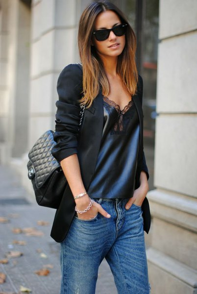black blazer with navy blue deep v-neck silk and long lace with long lace
