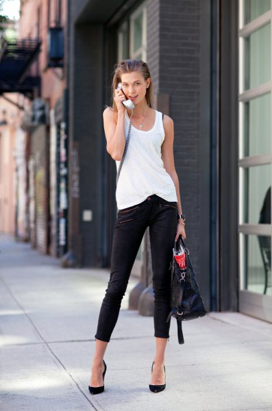 white long tank top with black cropped slim jeans and ballet heels