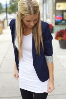 white tunic top with navy blue half-heated blazer