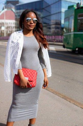gray midi dress with white crochet cardigan