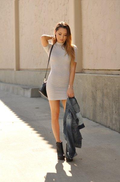 light gray and white striped short-sleeved mini dress