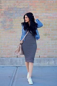 blue denim jacket with black and gray striped bodycon midi dress