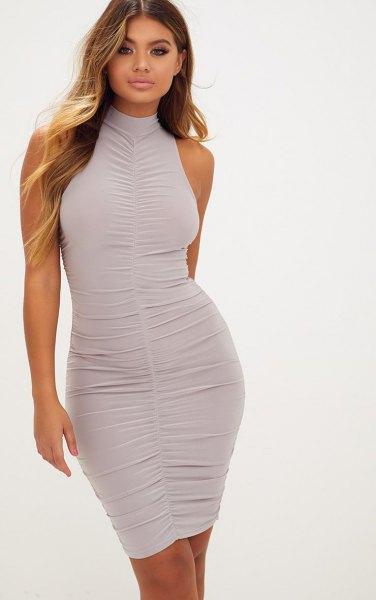 light gray mock neck ruched bodycon mini dress