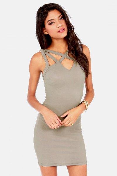 gray cutout front mini bodycon dress