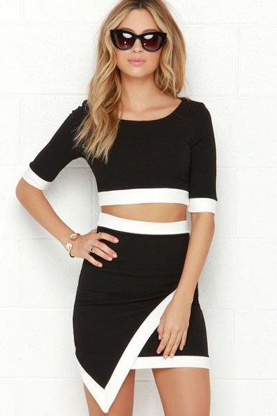 black and white half sleeve two pieces mini wrap dress