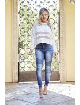 white striped sweater with blue jeans and sandals