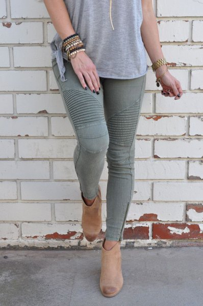 gray t-shirt with matching moto skinny jeans