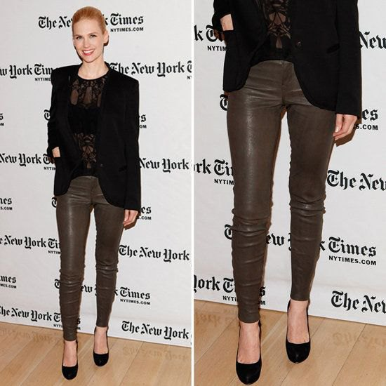 brown skinny jeans with black lace top and blazer