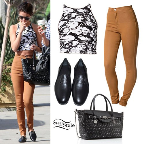 black and white printed grass with light brown jeans