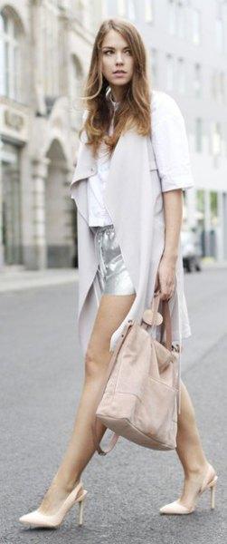 gray waist length chiffon jacket with silver mini shorts