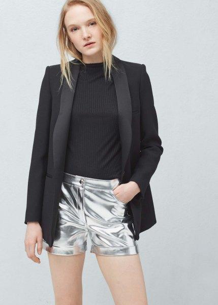 black blazer with silver metal shorts