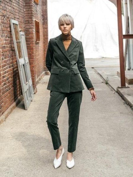gray oversized corduroy blazer with matching pants