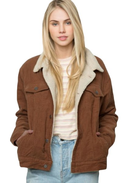 brown faux fur corduroy blazer with white and gray striped tee