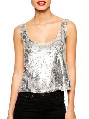 sequin with bucket neck with black skinny jeans