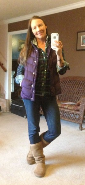 blue checkered boyfriend shirt with purple down vest