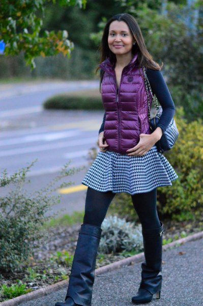 purple down vest with long sleeves that fits tee and checker tunic