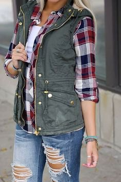 navy blue and white checkered boyfriend shirt with purple vest