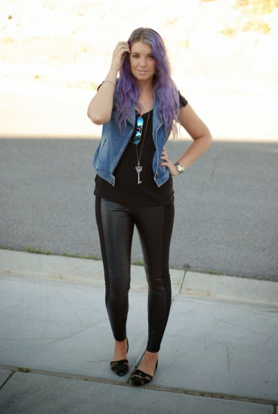 faux fur vest with black tee and leather legs