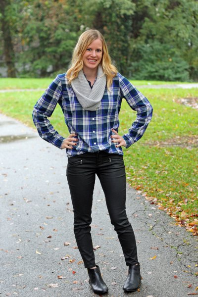 navy and white checkered boyfriend shirt with black jeans and boots
