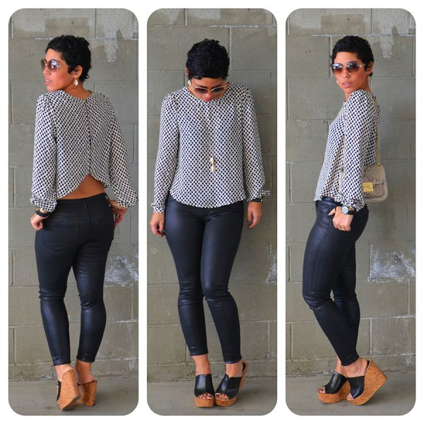 white and black polka dot cropped blouse with coated skinny jeans