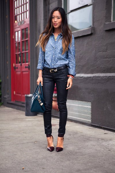 blue and white polka dot chambray shirt with black jeans