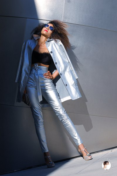 silver digging coat with matching metallic jeans