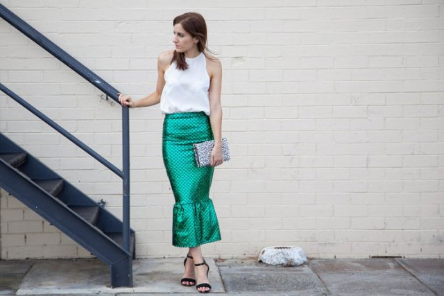 white halter top with metallic midi mermaid skirt