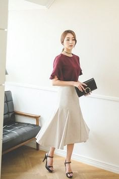 gray t-shirt with white midi mermaid skirt