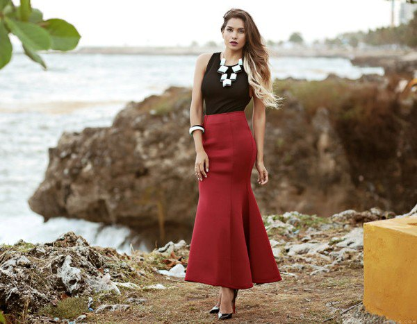 black top with burgundy maxi dress