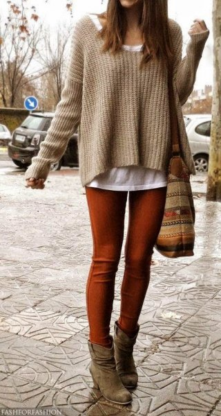 coffee brown, slightly stretched knit sweater over the white tank