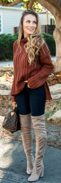 brown backpack with hollow neck with gray thigh high boots